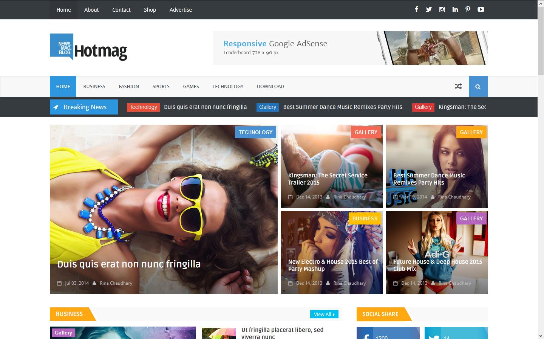 Hotmag Blogger Template Full Version Premium Themexpose