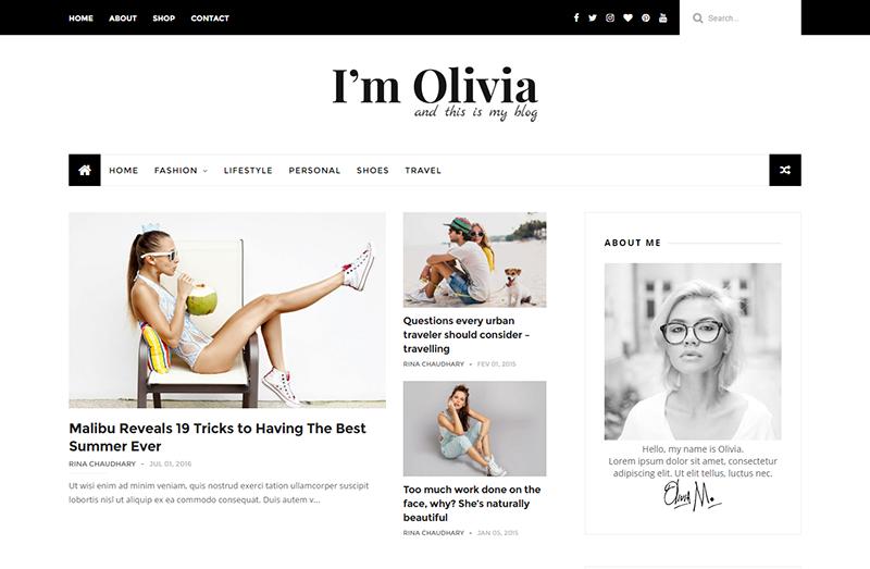 Olivia Blogger Template – Full Version | Premium ThemeXpose
